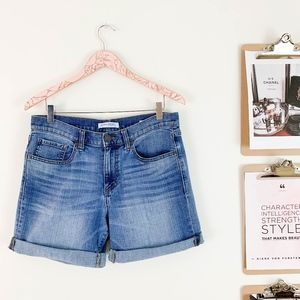 Banana Republic Boyfriend Roll-Up Shorts 27 Denim